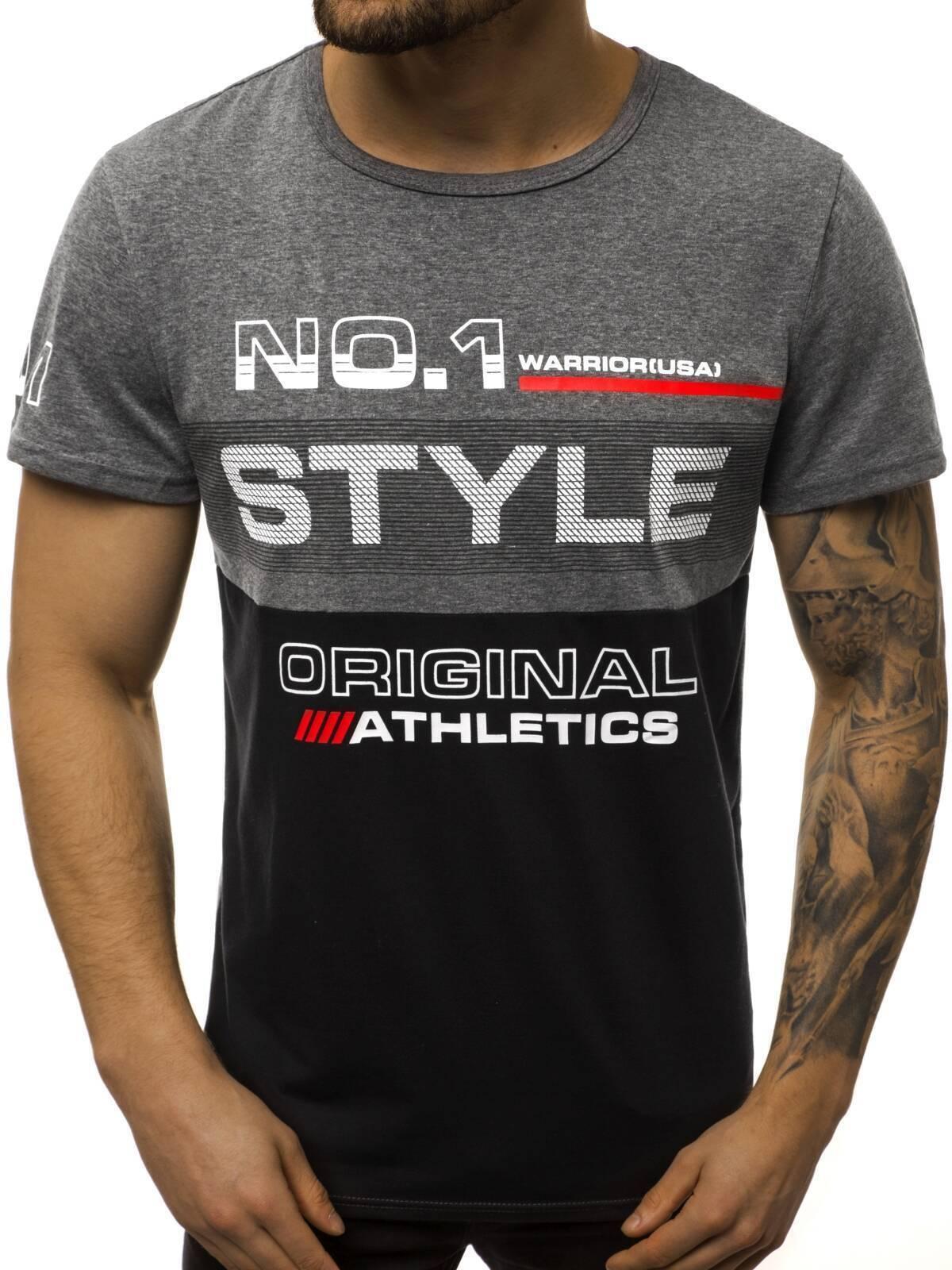Indexbild 47 - T-Shirt Kurzarm Print Aufdruck Fitness Jogging Sport Shirt Herren OZONEE 12511