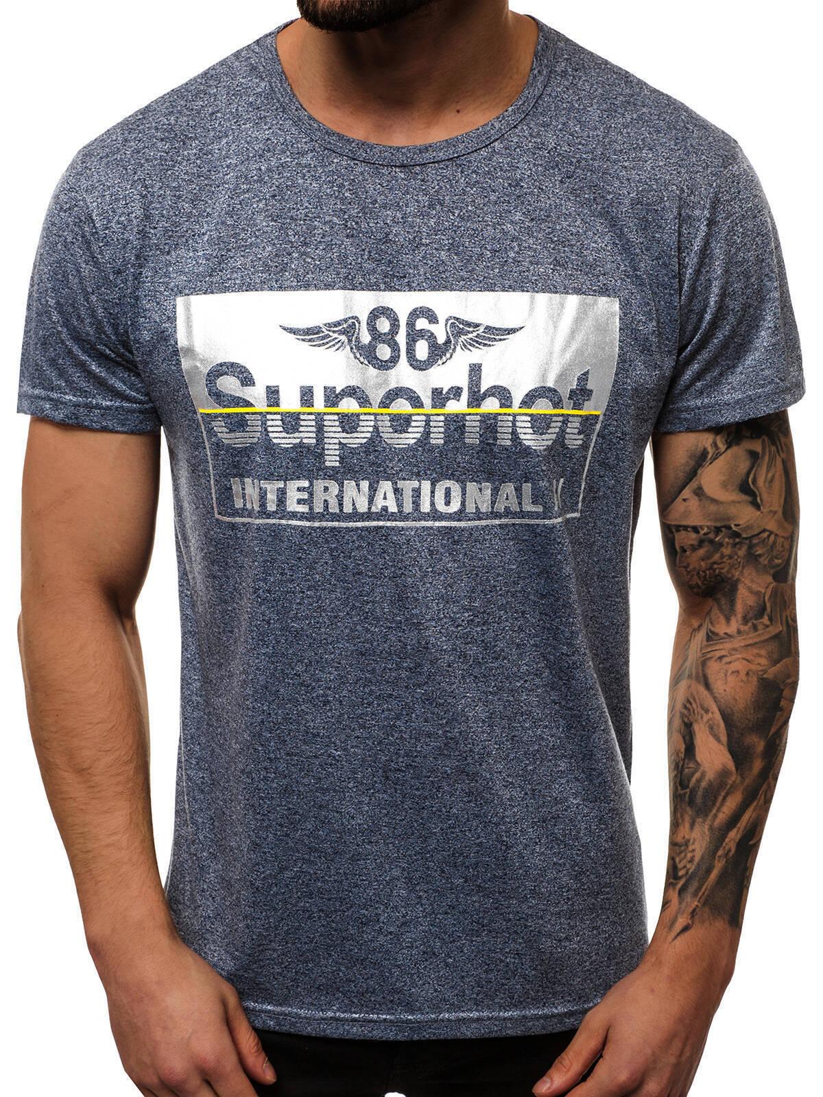Indexbild 55 - T-Shirt Kurzarm Print Aufdruck Fitness Jogging Sport Shirt Herren OZONEE 12511