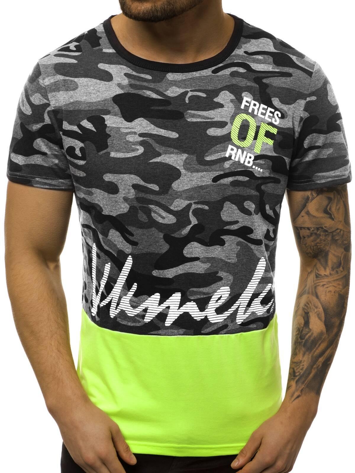 Indexbild 38 - T-Shirt Kurzarm Print Aufdruck Fitness Jogging Sport Shirt Herren OZONEE 12511