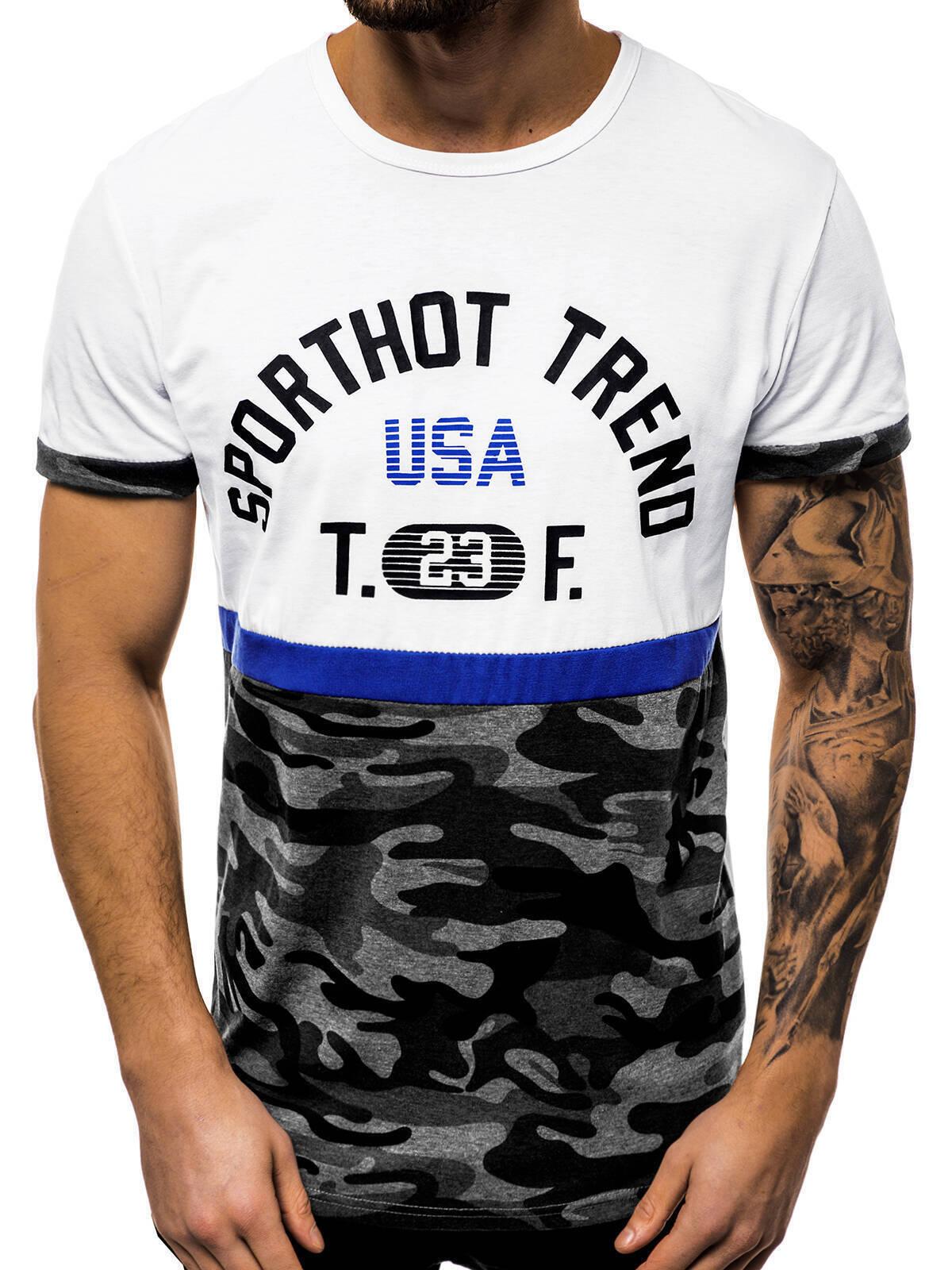 Indexbild 7 - T-Shirt Kurzarm Print Aufdruck Fitness Jogging Sport Shirt Herren OZONEE 12511