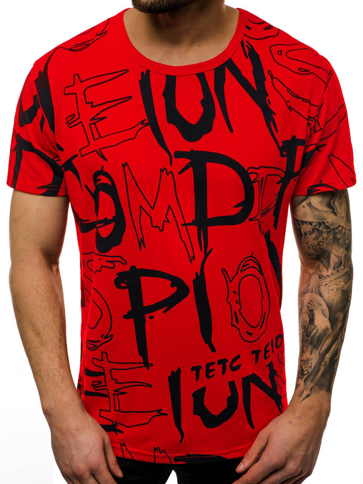 Indexbild 8 - T-Shirt Kurzarm Print Aufdruck Fitness Jogging Sport Shirt Herren OZONEE 12511