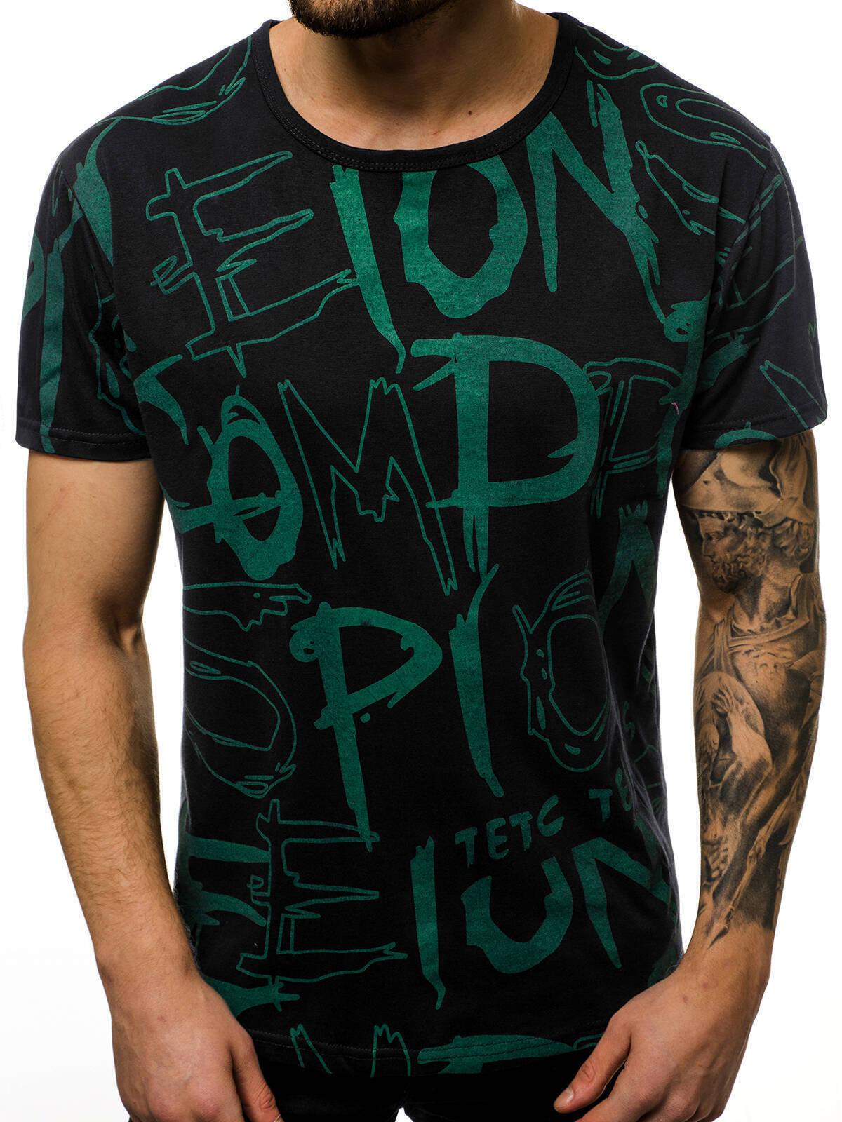 Indexbild 10 - T-Shirt Kurzarm Print Aufdruck Fitness Jogging Sport Shirt Herren OZONEE 12511