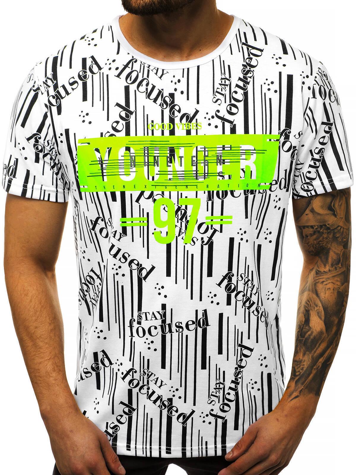 Indexbild 20 - T-Shirt Kurzarm Print Aufdruck Fitness Jogging Sport Shirt Herren OZONEE 12511