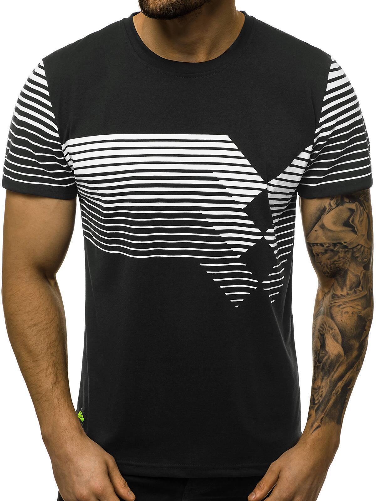 Indexbild 27 - T-Shirt Kurzarm Print Aufdruck Fitness Jogging Sport Shirt Herren OZONEE 12511