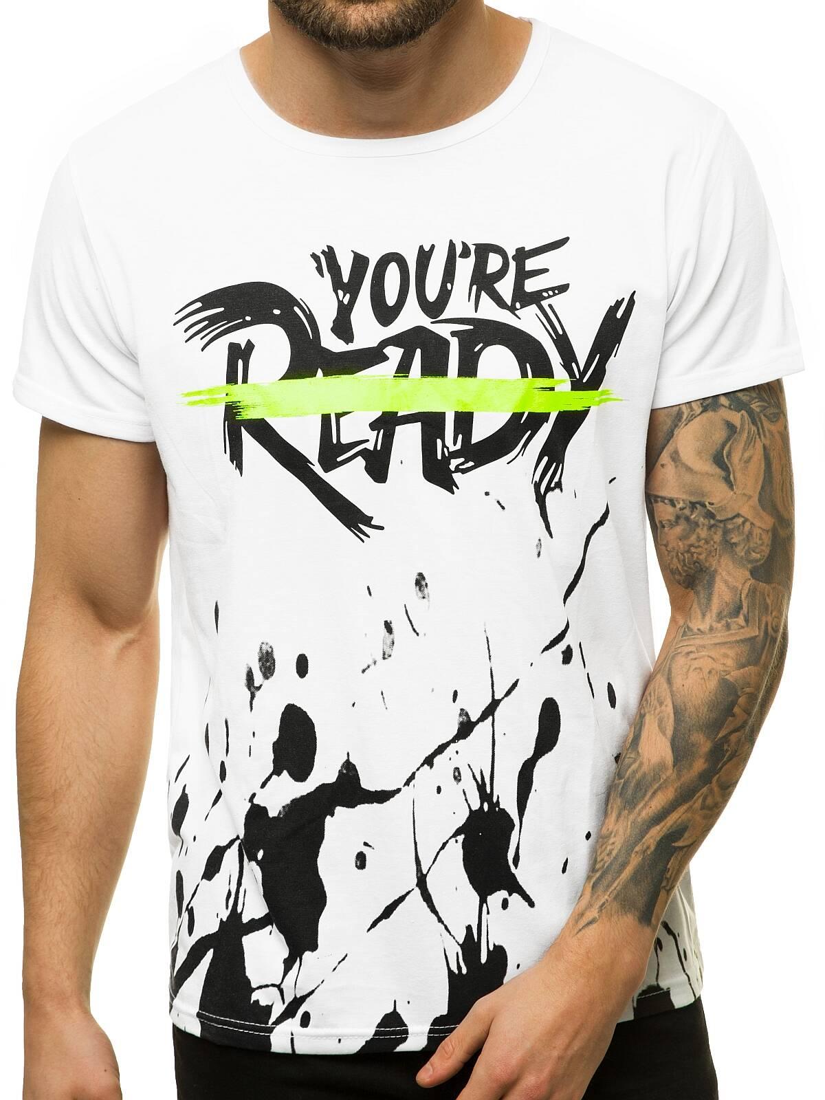 T-Shirt-Kurzarm-Shirt-Aufdruck-Figurbetont-Fitness-Herren-OZONEE-7396-MIX Indexbild 29