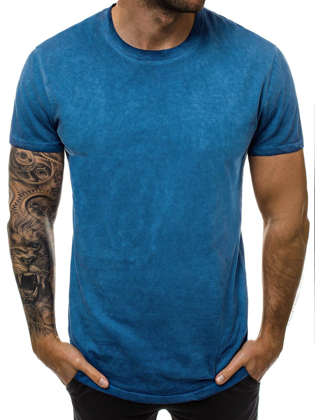 T-Shirt-Kurzarm-U-Neck-Slim-Fit-Fitness-Camo-Basic-Unifarben-Herren-OZONEE-MIX Indexbild 47