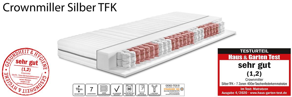 Crownmiller Silber TFK - 7 Zonen 400er Taschenfederkernmatratze
