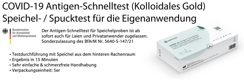 MR Sanicom GmbH - COVID-19 Antigen-Schnelltest (Kolloidales Gold) - Speichel- / Spucktest für die Eigenanwendung -  BfArM 5640-S-147/21