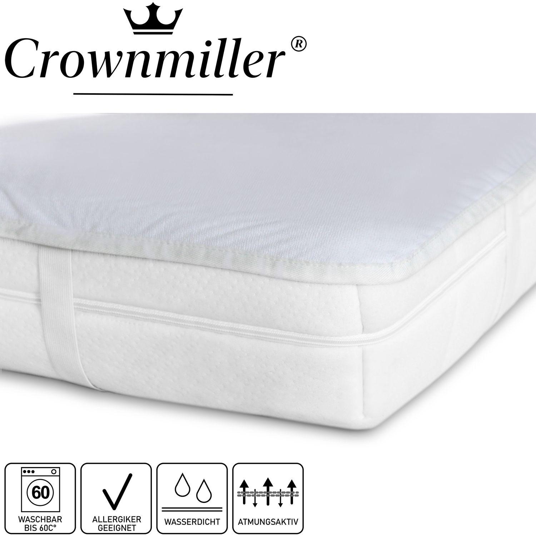 Crownmiller Matratzen-Auflage-Schoner-Schutz mit Nässeschutz und 4 Eckgummis