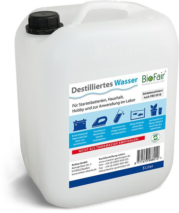Demineralisiertes Wasser (destilliertes Wasser) nach VDE 0510 - 25 Liter (5 x 5l)