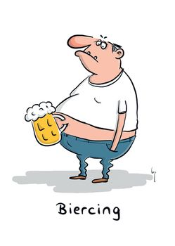 Postkarte A6 +++ CARTOON +++ BIERCING