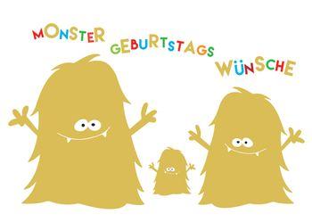 Postkarte A6 +++ LUSTIG +++ MONSTER GEBURTSTAGS WÜNSCHE GOLD