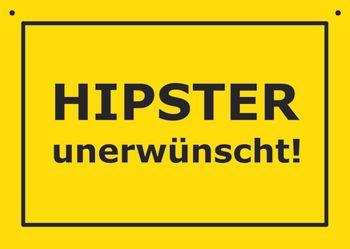 Postkarte Kunststoff +++ VERBOTENE SCHILDER +++ HIPSTER UNERWÜNSCHT