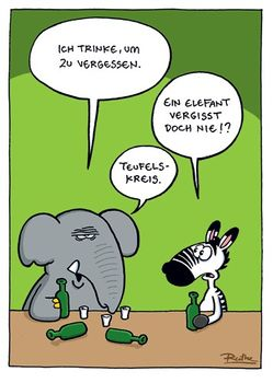 Postkarte A6 +++ CARTOON +++ EIN ELEFANT VERGISST DOCH NIE!?