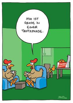 Postkarte A6 +++ CARTOON +++ MIA IST GRADE IN EINER TROTZPHASE