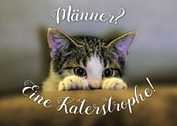 Postkarte A6 +++ LUSTIG +++ MÄNNER? EINE KATERSTROPHE!