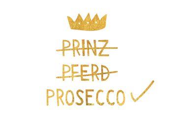 Magnet 8,5x5,5 cm +++ LUSTIG +++ PRINZ PFERD PROSECCO - MAGNETE GOLD