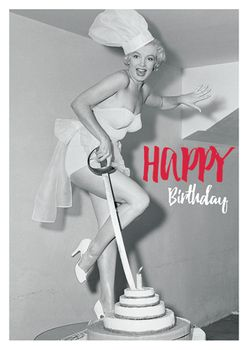 Postkarte A6 +++ LUSTIG +++ MARILYN MONROE HAPPY BIRTHDAY CAKE