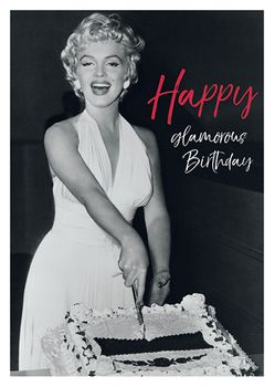 Postkarte A6 +++ LUSTIG +++ MARILYN MONROE HAPPY GLAMOROUS BIRTHDAY