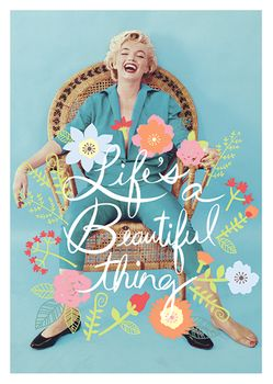Postkarte A6 +++ LUSTIG +++ MARILYN MONROE LIFE´S A BEAUTIFUL THING