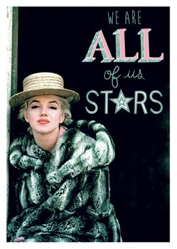 Postkarte A6 +++ LUSTIG +++ MARILYN MONROE WE ARE ALL OF US STARS
