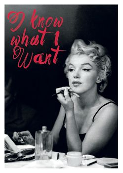 Postkarte A6 +++ LUSTIG +++ MARILYN MONROE I KNOW WHAT I WANT