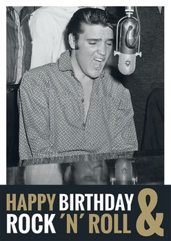 Postkarte A6 +++ LUSTIG +++ ELVIS PRESLEY HAPPY BIRTHDAY & ROCK ´N´ ROLL