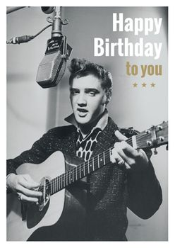 Postkarte A6 +++ LUSTIG +++ ELVIS PRESLEY HAPPY BIRTHDAY TO YOU