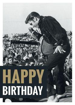 Postkarte A6 +++ LUSTIG +++ ELVIS PRESLEY HAPPY BIRTHDAY LIVE
