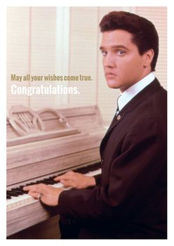 Postkarte A6 +++ LUSTIG +++ ELVIS PRESLEY PIANO MAY ALL YOUR WISHES