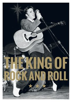 Postkarte A6 +++ LUSTIG +++ ELVIS PRESLEY THE KING OF ROCK AND ROLL