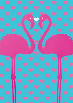 Postkarte A6 +++ LUSTIG +++ FLAMINGO COUPLE WEISSES HERZ
