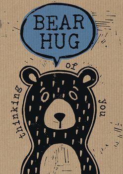Postkarte A6 +++ LUSTIG +++ BEAR HUG