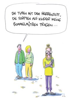 Postkarte A6 +++ CARTOON +++ DIE TYPEN MIT DEM HERRENDUTT
