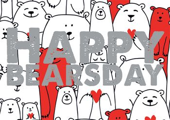 Postkarte A6 +++ LUSTIG +++ HAPPY BEARSDAY SILBER