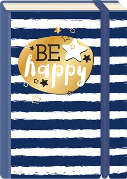Briefpostkarten Fold & Zip A6 +++ LUSTIG +++ BE HAPPY STREIFEN GOLD
