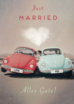 Postkarte A6 +++ LUSTIG +++ JUST MARRIED