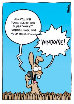 Postkarte A6 +++ CARTOON +++ KONDOME!