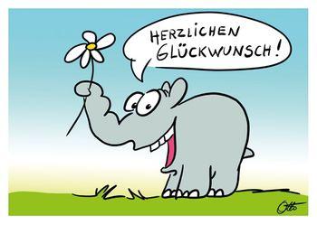 Postkarte A6 +++ OTTO +++ HERZLICHEN GLÜCKWUNSCH BLÜMCHEN