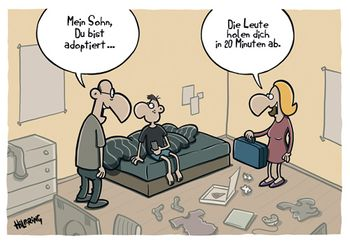 Postkarte A6 +++ CARTOON +++ DU BIST ADOPTIERT