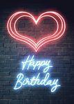 Postkarte A6 +++ NEON LOVE +++ HAPPY BIRTHDAY HEART
