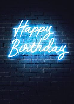 Postkarte A6 +++ NEON LOVE +++ HAPPY BIRTHDAY BLUE