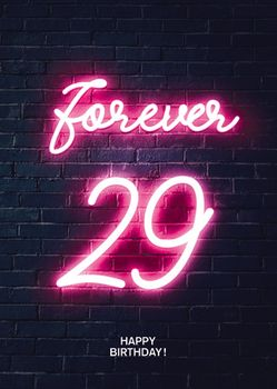 Postkarte A6 +++ NEON LOVE +++ FOREVER 29 PINK