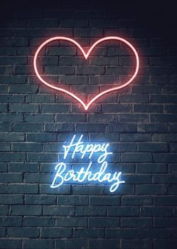 Postkarte A6 +++ NEON LOVE +++ HEART HAPPY BIRTHDAY