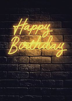 Postkarte A6 +++ NEON LOVE +++ HAPPY BIRTHDAY YELLOW