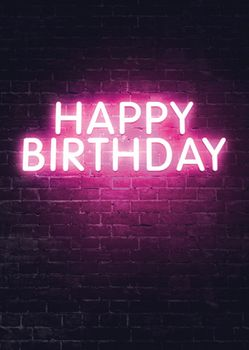 Postkarte A6 +++ NEON LOVE +++ HAPPY BIRTHDAY PINK