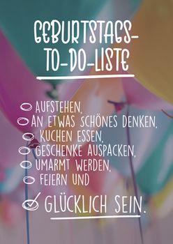 Postkarte A6 +++ LUSTIG +++ GEBURTSTAG-TO-DO-LISTE: GLÜCKLICH SEIN!