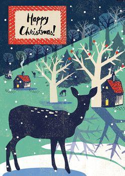 Postkarte A6 +++ WEIHNACHTEN +++ CHRISTMAS DEER