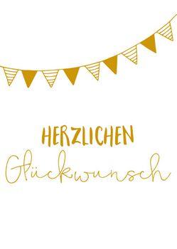 Grußkarte 11,5x16 cm +++ LUSTIG +++ HERZLICHEN GLÜCKWUNSCH GIRLANDE