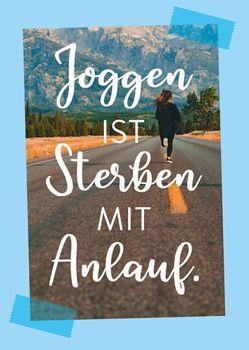Postkarte A6 +++ LUSTIG +++ JOGGEN IST STERBEN MIT ANLAUF